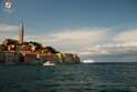Rovinj old town detail and cruiser ship